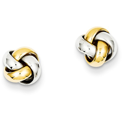14K Two-Tone Gold Knot Post Earrings