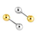 Reversible 4mm Ball Earrings, 14K Two-Tone Gold