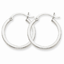 14k White Gold 2mm Round Hoop Earrings
