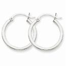 14k White Gold 2mm Round Hoop Earrings