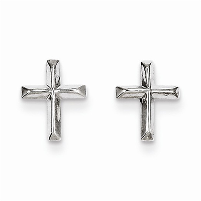 14K White Gold Cross Post Earrings