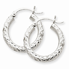 14k White Gold Diamond-Cut 3mm Round Hoop Earrings