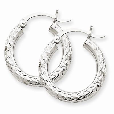 14k White Gold Diamond Cut 3mm Round Hoop Earrings