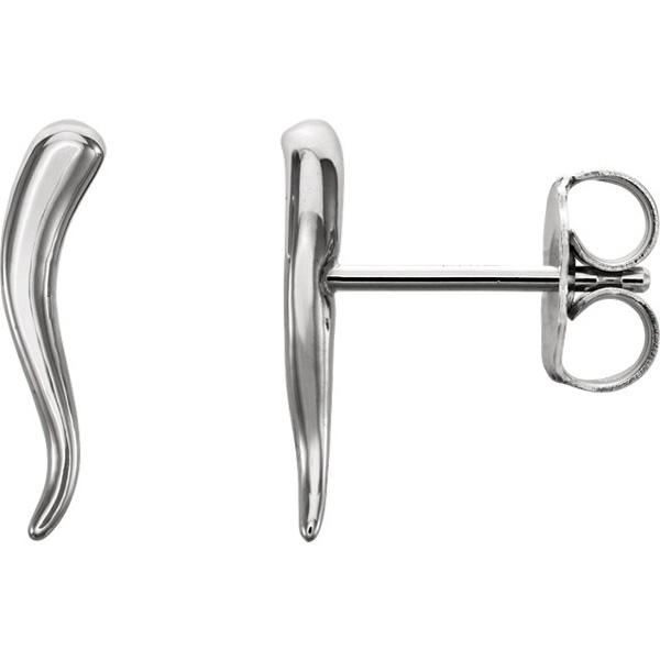 14K White Gold Italian Horn Earrings