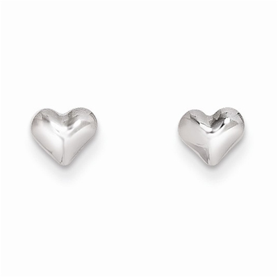 Small, Puffed Heart Earrings in 14k White Gold