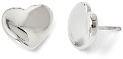 Polished Heart Stud Earrings, 14K White Gold