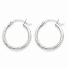 Satin & Diamond-Cut 2mm Round Hoop Earrings, 14K White Gold