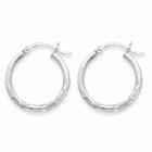 Satin & Diamond-Cut 2mm Round Hoop Earrings, 14K White Gold