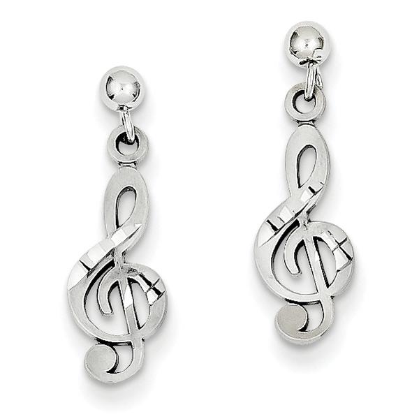 14K White Gold Treble Clef Earrings