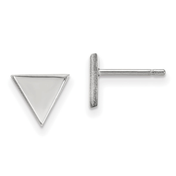 14K White Gold Triangle Stud Earrings