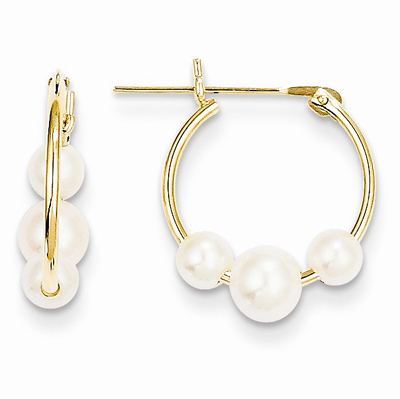 jewelpearl.com the marcasite jewelry place    Freshwater Cultured Pearl Hoop Earrings, 14K Yellow Gold