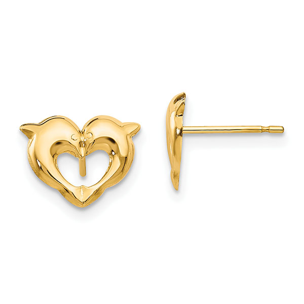 Dolphin Heart Post Earrings, 14K Yellow Gold