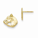 Horse Head Post Earrings, 14K Gold
