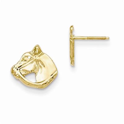 Horse Head Post Earrings, 14K Gold