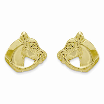 Polished Horse Head Post Earrings, 14K Gold