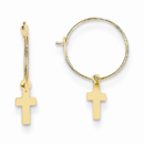Endless Hoop w/Small Cross Earrings, 14K Gold