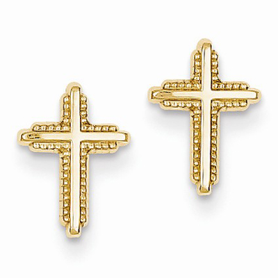 Polished Cross Post Earrings in 14K Gold
