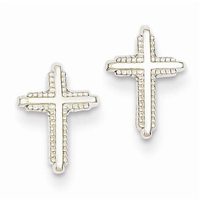 14K White Gold Polished Cross Post Earrings