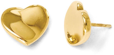 14K Yellow Gold Polished Heart Stud Earrings