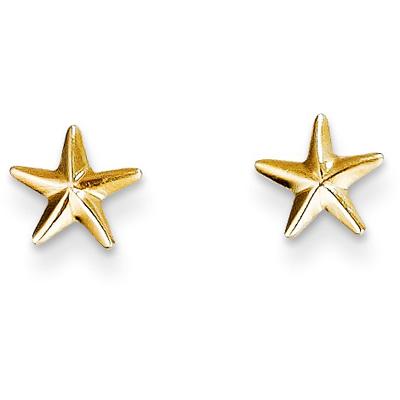 Star Post Earrings, 14K Yellow Gold