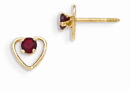 3mm Garnet Birthstone Heart Earrings, 14K Gold