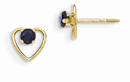 3mm Sapphire Birthstone Heart Earrings, 14K Gold