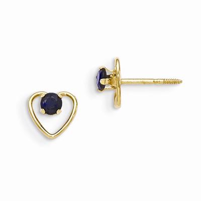 3mm Sapphire Birthstone Heart Earrings, 14K Gold