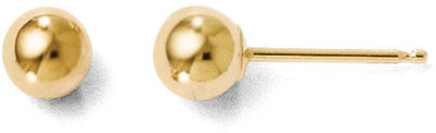 4mm Polished Ball Stud Earrings, 14K Gold