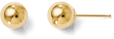 6mm Polished Ball Stud Earrings, 14K Gold