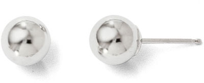6mm Polished Ball Stud Earrings, 14K White Gold