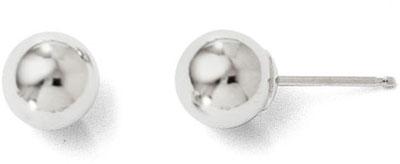 6mm Polished Ball Stud Earrings, 14K White Gold