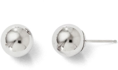 8mm Polished Ball Stud Earrings, 14K White Gold