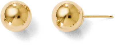 8mm Polished Ball Stud Earrings, 14K Gold