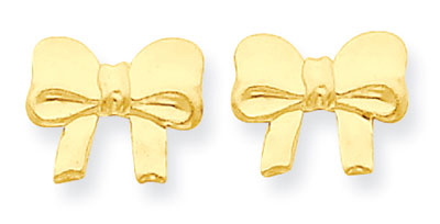 Trendy Bow Stud Earrings, 14K Yellow Gold