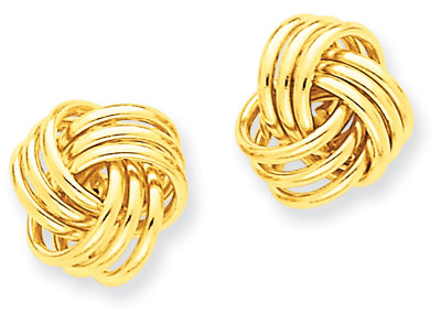 Basketweave Knot Earrings, 14K Yellow Gold