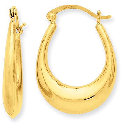 Graduated Oval hoop Earrings, 14K Yellow Gold