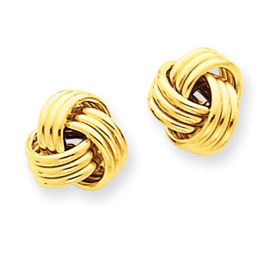 14K Yellow Gold Basketweave Knot Earrings