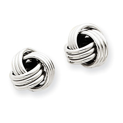 14K White Gold Basketweave Knot Earrings