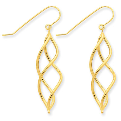 Scroll Design Earrings in 14K Yellow Gold