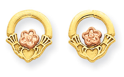 Claddagh Stud Earrings in 14K Yellow and Rose Gold