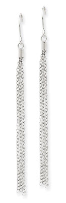 Long Chain Earrings in 14K White Gold