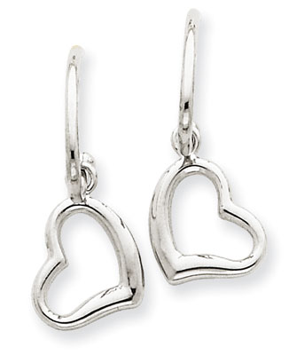 Heart Dangle Earrings in 14K White Gold