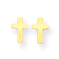Cross Earrings, 14K Gold