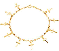 Cross Charm Bracelet, 14K Yellow Gold