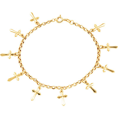 Cross Charm Bracelet, 14K Yellow Gold