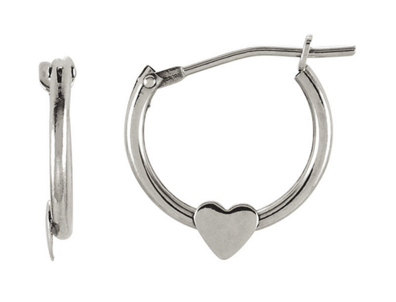 Petite Hoop Heart Earrings, 14K White Gold