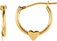 Petite Hoop Heart Earrings, 14K Yellow Gold