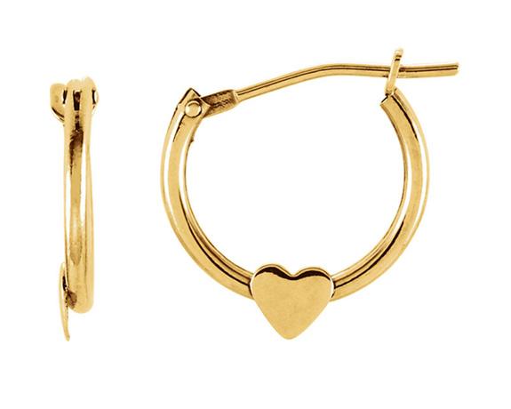 Petite Hoop Heart Earrings in 14k Yellow Gold
