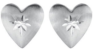 Diamond Cut Heart Stud Earrings, 14K White Gold
