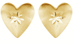Diamond Cut Heart Stud Earrings, 14K Yellow Gold